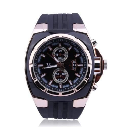 Armbanduhr Uhr Quarzuhr Rubber Watch Trend Sport Damen Herren Unisex Schwarz