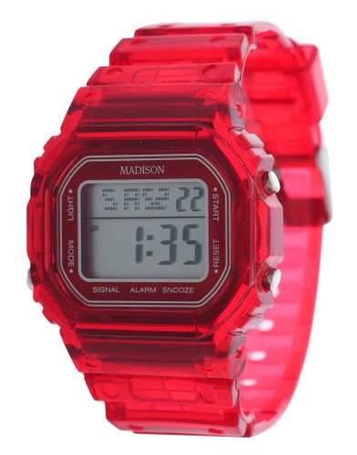 MADISON NEW YORK Armbanduhr Uhr CANDY JELLY Digital rot