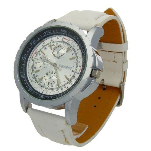 Herren Analog Armbanduhr Armband Kunstleder schwarz Zifferblatt rund Boden schwarz oder silber Marke Ernest A716