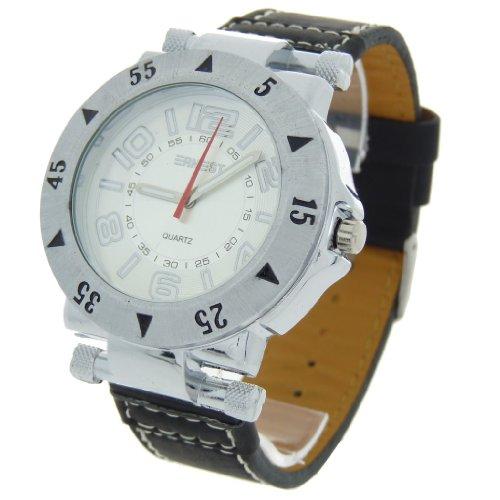 Herren Analog Armbanduhr Armband Kunstleder schwarz Zifferblatt rund Boden Silber Marke Ernest A596