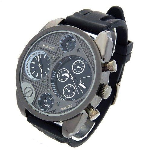 Herren Analog Armbanduhr Armband Kunstleder oder Silikon Schwarz Zifferblatt rund Marke Ernest 9316