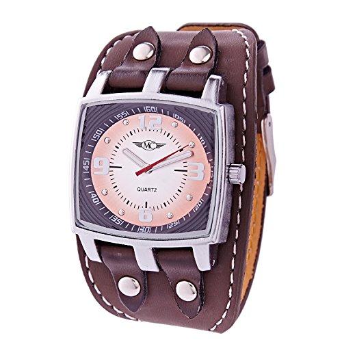 Herren Analog Armbanduhr Armband Kunstleder gesteppt Zifferblatt Rechteck Marke Ernest A262