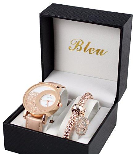 Damen Armbanduhr und Totenkopf Armband Kristall und Rosengold Strass in Box