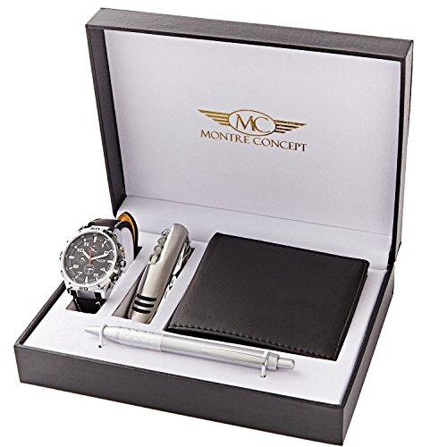 Set von Ernest Armband Uhr Geldboerse Kugelschreiber Messer Geschenkset fuer Herren