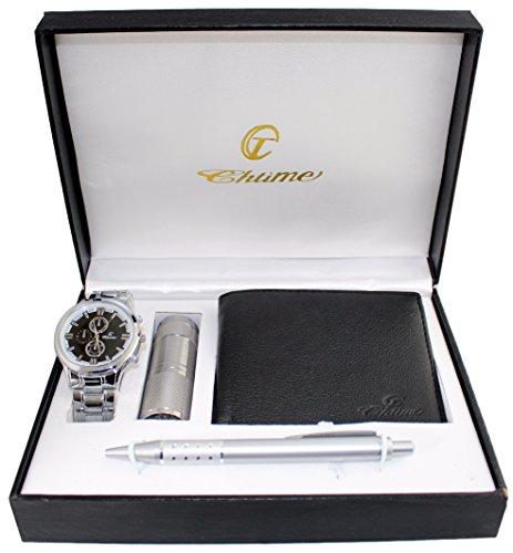 Geschenkbox mit Herren Armbanduhr Geldboerse Kugelschreiber Taschenlampe