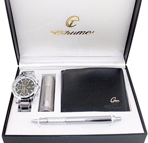 Geschenkbox mit Herren Armbanduhr Geldboerse Kugelschreiber und Taschenlampe