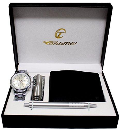 Geschenkbox mit Herren Armbanduhr Geldboerse Stift Messer