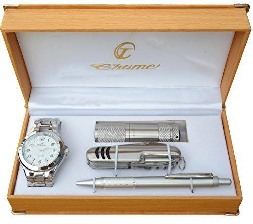 Geschenkbox mit Herren Armbanduhr Kugelschreiber Messer Lampe