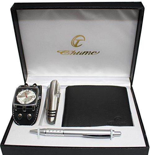 Geschenkbox mit Herren Armbanduhr Guertel Multifunktionsmesser Stift