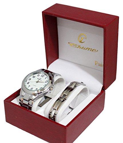 Geschenkbox zeigt Herren und Panzerkette Edelstahl Silber