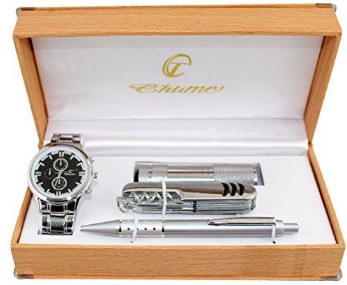 Geschenkbox zeigt Herren Kugelschreiber Messer Lampe