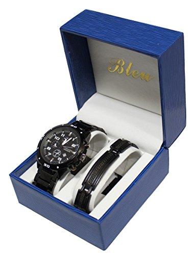 Set mit Herren Armbanduhr und Panzerketten Armband aus Stahl Geschenkset fuer Herren