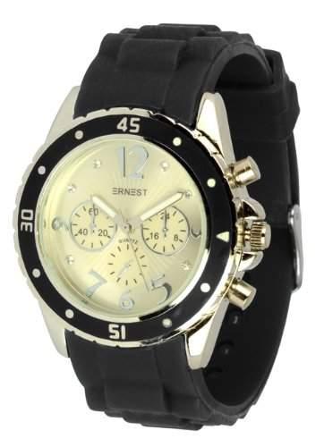 "Waooh - ERNEST Uhr ""HG9811L"" Silikon-Armband - Schwarz"