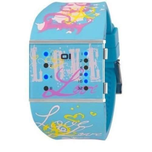 01TheOne Damen-Armbanduhr Analog Gummi Blau SLSL136B3