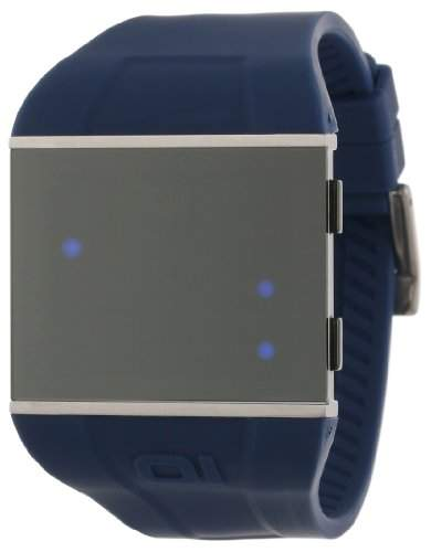 01theone Herren 48mm Blau Kautschuk Armband Edelstahl Gehäuse Uhr SLS113B3BL