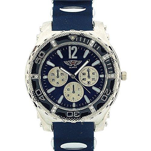 PRINCE LONDON Herren Freizeit Armbanduhr grosses Ziffernblatt Chrono Effekt mit blauem Gummiarmband