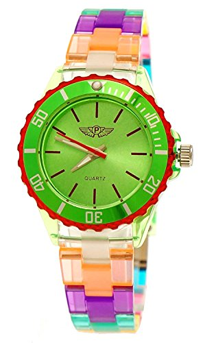 Coole NY London Rainbow Kunstoff Uhr bunte Kunststoff Kinderuhr Jungen Maedchen Armband Uhr Gruen Rot Lila inkl Uhrenbox