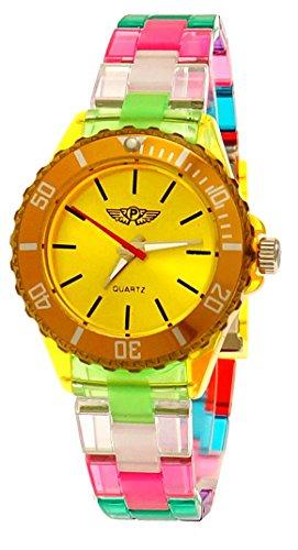 Coole NY London Rainbow Kunstoff Uhr bunte Kunststoff Damen Armbanduhr Damenuhr Kinderuhr Jungen Maedchen Armband Uhr Gelb Blau Rot Tuerkis inkl Uhrenbox