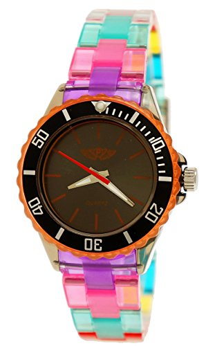 Coole NY London Rainbow Kunstoff Uhr bunte Kunststoff Damen Armbanduhr Damenuhr Kinderuhr Jungen Maedchen Armband Uhr Schwarz Lila Orange inkl Uhrenbox