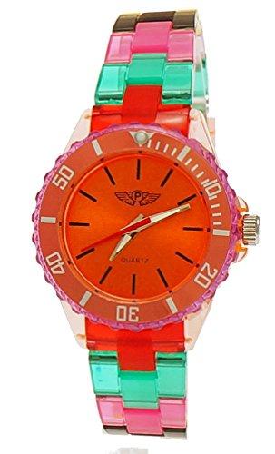 Coole NY London Rainbow Kunstoff Uhr bunte Kunststoff Damen Armbanduhr Damenuhr Kinderuhr Jungen Maedchen Armband Uhr Rot Lila Tuerkis inkl Uhrenbox