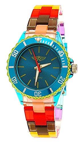 Coole NY London Rainbow Kunstoff Uhr bunte Kunststoff Kinderuhr Jungen Maedchen Armband Uhr Tuerkis Blau Gruen Lila Gelb inkl Uhrenbox