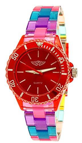 Coole NY London Rainbow Kunstoff Uhr bunte Kunststoff Kinderuhr Jungen Maedchen Armband Uhr Rot Tuerkis Lila inkl Uhrenbox