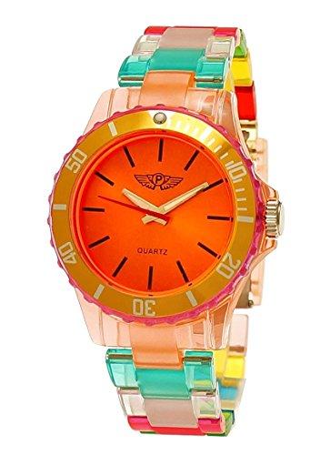 NY London Rainbow Damen Herren Kunststoff Armband Uhr bunte Kunststoff Damenuhr Herrenuhr Armbanduhr Orange Rot Pink inkl Uhrenbox