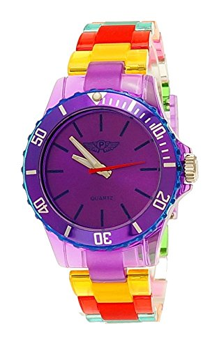 NY London Rainbow Damen Herren Kunststoff Armband Uhr bunte Kunststoff Armbanduhr Lila gelb Rot inkl Uhrenbox