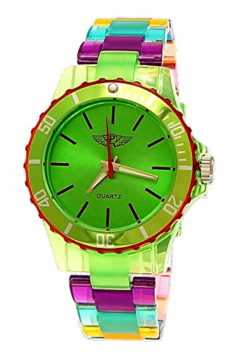 NY London Rainbow Damen Herren Kunststoff Armband Uhr bunte Kunststoff Armbanduhr Tuerkis Gruen Lila inkl Uhrenbox