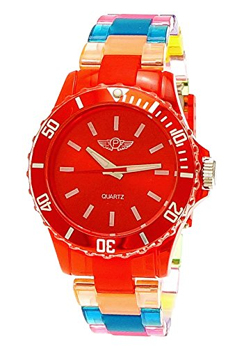 NY London Rainbow Damen Herren Kunststoff Armband Uhr bunte Kunststoff Armbanduhr Rot Blau Gelb inkl Uhrenbox