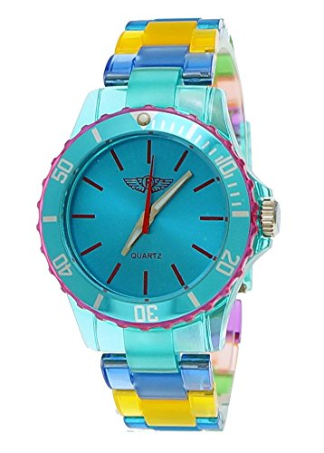 NY London Rainbow Damen Herren Kunststoff Armband Uhr bunte Kunststoff Damenuhr Herrenuhr Armbanduhr Tuerkis Blau Gelb inkl Uhrenbox