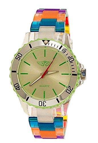 NY London Rainbow Damen Herren Kunststoff Armband Uhr bunte Kunststoff Damenuhr Herrenuhr Armbanduhr Gruen Silber Blau inkl Uhrenbox
