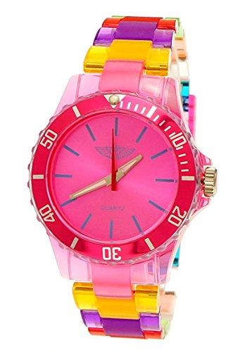 NY London Rainbow Damen Herren Kunststoff Armband Uhr bunte Kunststoff Armbanduhr Pink Gelb Rot inkl Uhrenbox