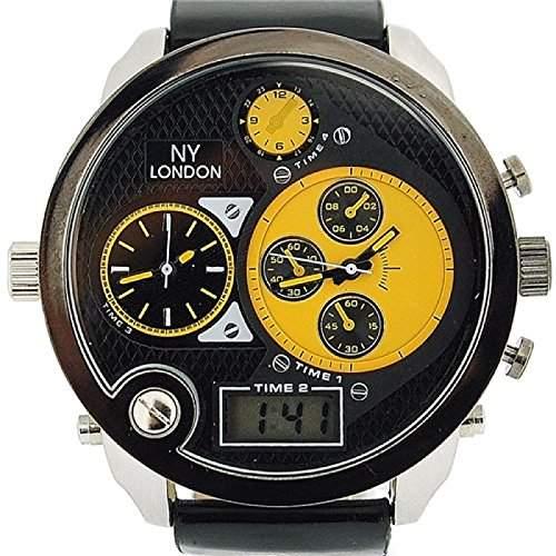 PRINCE LONDON Herren Ana-Digi Armbanduhr mit Dreifachzeitzone und schwarzem Armband PI-3061