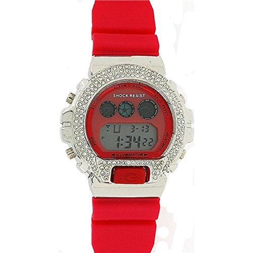 PRINCE LONDON Unisex Schock Digital Sport Chronograph mit rotem Plastikarmband