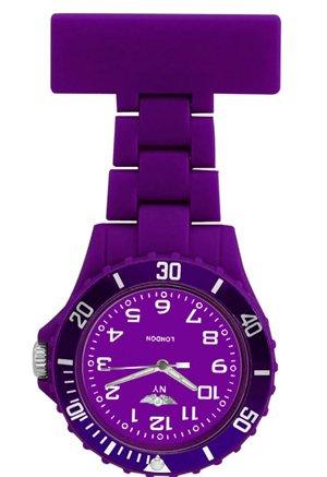 Prince London New York gummierter Kunststoff Schwesternuhr Uhr mit Stift Dark Purple