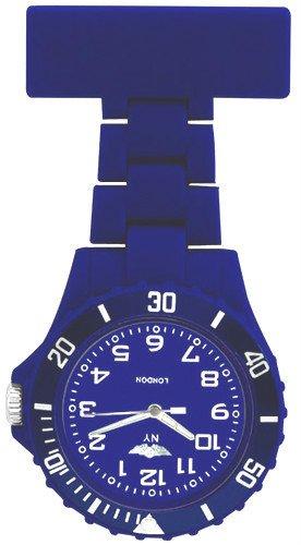 Prince London New York gummierter Kunststoff Schwesternuhr Uhr mit Stift dunkelblau