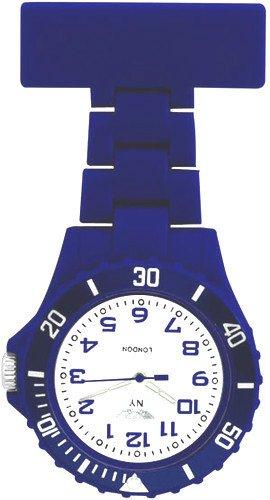 Prince London New York gummierter Kunststoff Schwesternuhr Uhr mit Stift Dunkelblau mit weissem Ziffernblatt
