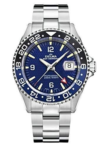 Schweizer Sportuhr - DELMA Herrenuhr - GMT Meridian, Ø 43 mm, blau