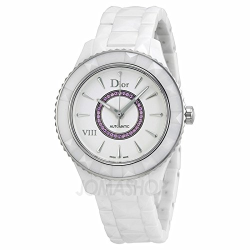 Christian Dior Dior VIII Automatic White Ceramic Steel Womens Watch Pink Sapphires CD1245EFC001
