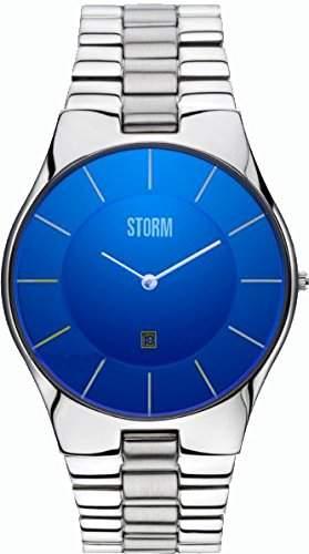 Storm Herren-Armbanduhr Analog Metall Silber Slim-X XL Lazer Blue
