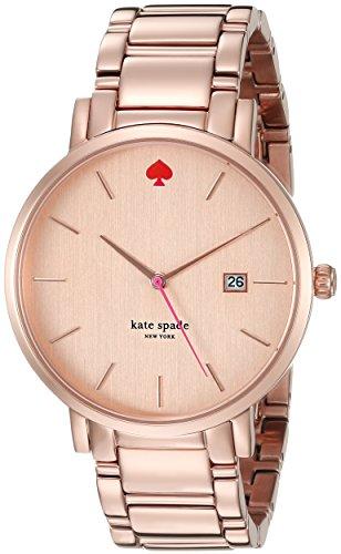 Kate Spade 1YRU0641 Damenarmbanduhr analog aus Stahl Goldfarben mit Quarzuhrwerk und Zifferblatt in Rosegold Optik