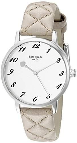 Kate Spade Damen-Armbanduhr Armband Leder Grau Gehaeuse Edelstahl Quarz Zifferblatt Silber Analog 1YRU0784