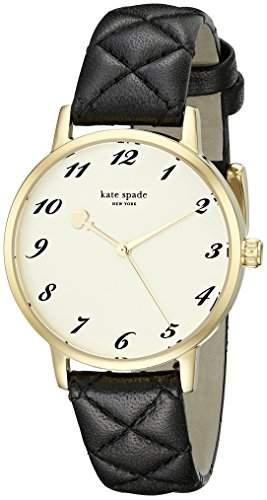 Kate Spade Damen-Armbanduhr Armband Leder Schwarz Gehaeuse Edelstahl Quarz Zifferblatt Gold Analog 1YRU0788