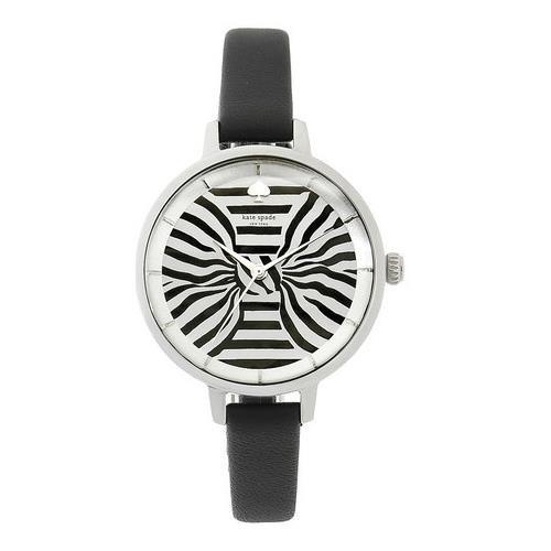 Kate Spade New York Metro Damen Armbanduhr 34mm Armband Leder Schwarz Gehaeuse Edelstahl Quarz KSW1032