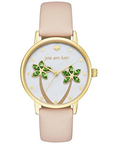 Kate Spade Damen Armbanduhr 34mm Armband Leder Quarz Zifferblatt Gold Analog KSW1103