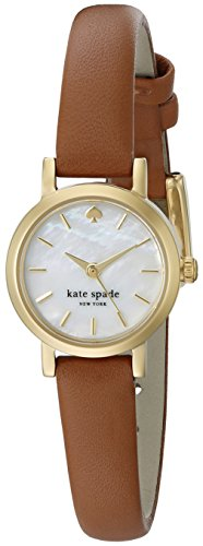 Kate Spade Damen 20 mm braun Leder Band Armbanduhr Stahl Gold Ton Fall Mop Dial Analog Quarz 1yru0867
