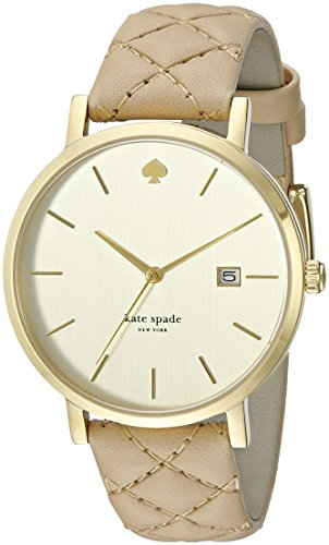 Kate Spade New York Metro Grand 38mm Armband Leder Beige Quarz Zifferblatt Gold 1YRU0844