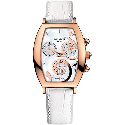 Balmain Arcade Herren & Damen Chronograph Weiß Leder Armband Uhr B57192284
