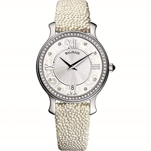 Balmain Damen Diamanten 32mm Weiss Leder Armband Saphirglas Uhr B-072-1335-22-28